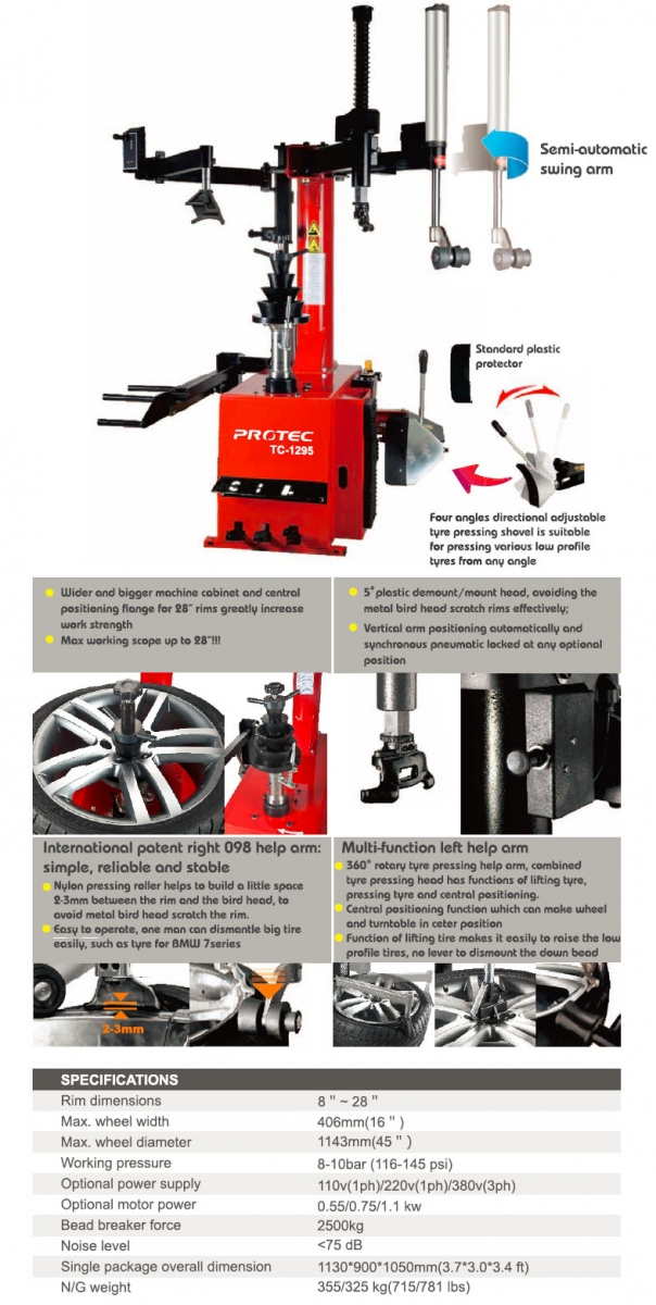 Tc 1295 Semi Automatic Swing Arm Tire Changer The Industry Leader